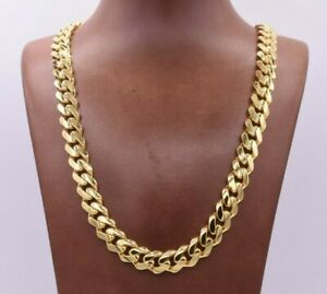 11mm Miami Cuban Royal Link Chain Necklace CZ Box Clasp Real 10K Yellow Gold