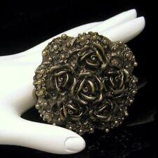 LEWIS Vintage 1975 Art Nouveau Style Belt Buckle Antiqued Gold Plated Roses