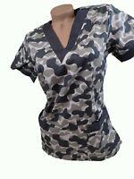 New Women Nursing Scrub Gray Camo Camouflage Poly/Cotton Top Size XS S M L XL