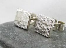 Chunky Mini Sterling Silver 925 Sparkly Hammered Square Ear Stud Earrings 6mm