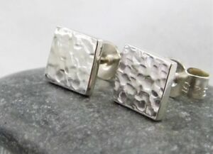 Mini Sterling Silver 925 Sparkly Hammered Square Ear Stud Earrings 6mm Handmade
