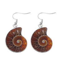 Natural Snail Ammonite Spiral Whorl Conch Shell Fossils Pendant Dangle Earrings