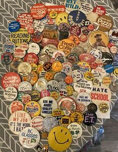 COOL BEANS: Huge Vintage Pin Button Lot Box Advertising Pizza HBO More 2-35