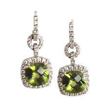 14 Kt White Gold Halo Earrings 6.03 Cts Cushion Peridot & .92 Cts Round Diamonds