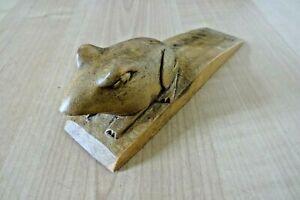 REDUCED! Vintage Hand Carved Wood Animal Frog Door Stop Wedge  Display Prop