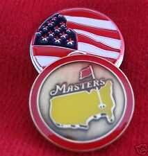 1 - 2014 Augusta Masters Red Rim Ball Marker & American Flag Hat Clip #3