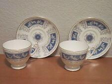 Vintage Coalport Bone China Revelry Blue 2 Sets Footed Cup & Saucer **FANTASTIC