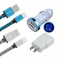 4 In 1 LED Car Charger+Home Wall Adapter+2x Type C USB 3.1 Data Sync Braid Cable