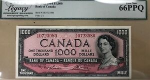 1954 Bank of Canada $1000 Banknote Legacy Superb Gem 66PPQ - A Real Beauty