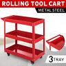 3-Tray Rolling  Storage Utility Tool Cart w/Wheels Workshop Garage Shelves