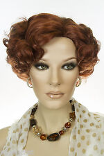 Fox Red (Clear Cool Vivid Red) Red Medium Short Skin Top Wavy Curly Wigs