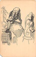 D42/ Interesting Animal Postcard c1910 Dressed Elephant Sketch Kley Signed