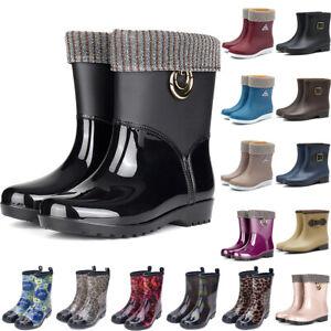 Women Short Wide Calf Wellington Ankle Rain Boot Winter Waterproof Wellies Shoes