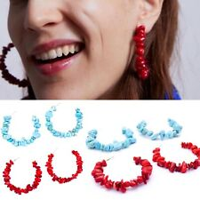 Turquoise Red Stone Shell Bead Statement Big Hoop Earrings Zara Fashion Style UK