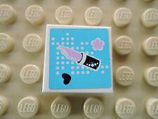 Lego 1 x Fliese 3068bpb0890 weiß 2x2 Sticker Lippenstift Blumen 3187