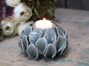 Ceramic Glazed French Grey Artichoke Candle Holder Table Decoration