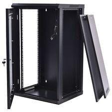 Black 15U Network Server Data Cabinet Wall Mount Enclosure Rack Glass Door Lock