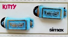 """Vintage Hair Barrettes - 1950's """"Simex""""  Kitty Pony Barrettes (Blue Butterfly)"""