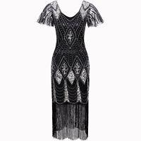 Women's 1920s Gatsby Inspired Sequin Beads Long Fringe Flapper Dresses Plus Size