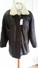 LAKELAND Ladies Dark Brown Leather Sheepskin Bomber Jacket in Size 8
