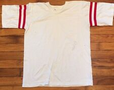 Vintage 1970s Shirt V Neck Tee 70s Boho 50/50 Football Rugby College Polo L