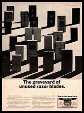 "1967 Gillette Stainless Steel ""The Graveyard Of Unused Razor Blades"" Print Ad"