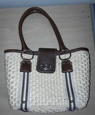 Chaps Brand Women's Woven Straw Style Tote Bag