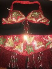 BRAND NEW PROFESSIONAL BELLY DANCE COSTUME BRA AND BELT MADE IN EGYPT
