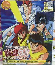 Anime DVD: Yu Yu Hakusho (1-112 End)+3 Movie_Good Eng Sub_All Reg_FREE SHIPPING