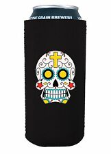 Sugar Skull 16 oz Pint Can Coolie, Choice of Color, Pounder, Tall Boy
