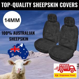 Sheepskin Seat Covers 14MM Charcoal Genuine Australian Sheepskin Airbag Safe