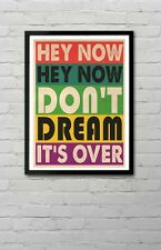 Crowded House Don't Dream It's Over Lyric Typography Wall Art Poster