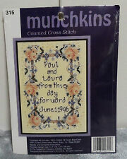 Munchkins Wedding Date Sampler Announcement Anniversary Counted Cross Stitch