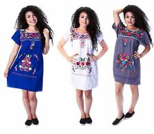 Assorted Above Knee Short Embroidered Mexican Peasant Hippie Mini Half Dress