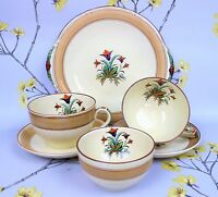 Vintage hand painted Art Deco 1920's MINTON Ironstone Tea Set for two: cups etc.