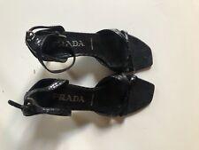 Prada Black Patent Leather Kitten Heel Sandals Size 35.5
