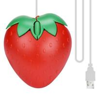Strawberry Mouse USB LED Wired Optical Game Mouse Mice For PC Red Cute Mouse
