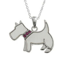 White Mother of Pearl Shell Westie Terrier Dog Pendant Silver Chain Necklace