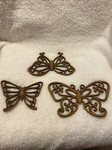 3 Home Interior Decorative Brown Butterflies