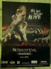 Resident Evil Outbreak Poster Ad Print Playstation 2