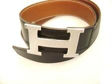 Hermès black&Brown Reversible Silver Color H Buckle Belt Stamp 60