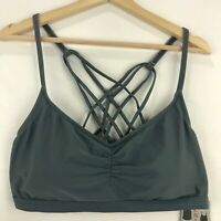 Go by Gossip Womens Size XL Bikini Top Only Gray Soft Cup Strappy Back
