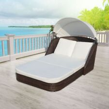 vidaXL Sun Lounger with Canopy Poly Rattan Brown