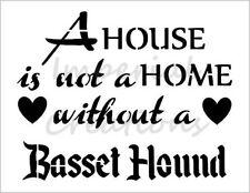 """BASSET HOUND HOME"" House Dog Breed 8.5"" x 11"" Stencil Plastic Sheet NEW S275"