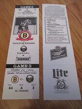 Game 5 DIT CLAPPER Last Season BOSTON BRUINS 10/29/94 TICKET Boston Garden