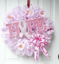 Pink Ribbon Cancer Awareness Deco Mesh Wreath, Home Decor {Handmade}