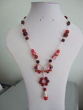"""19"""" Chain & Rosso Perlina Collana con filo della memoria CERCHI & Bobina di filo Ciondolo"""