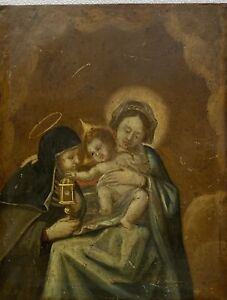 OLD MASTER 18th century Antique Oil painting on copper Madonna & Child portrait