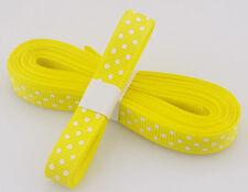 "Yellow 5yds 3/8"" (10 mm)Printed Party Polka Dot Grosgrain Ribbon`"