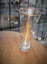 VINTAGE RETRO HIGHLY GILDED LAGER TUMBLER GLASS LEAF DESIGN GOOD SIZE